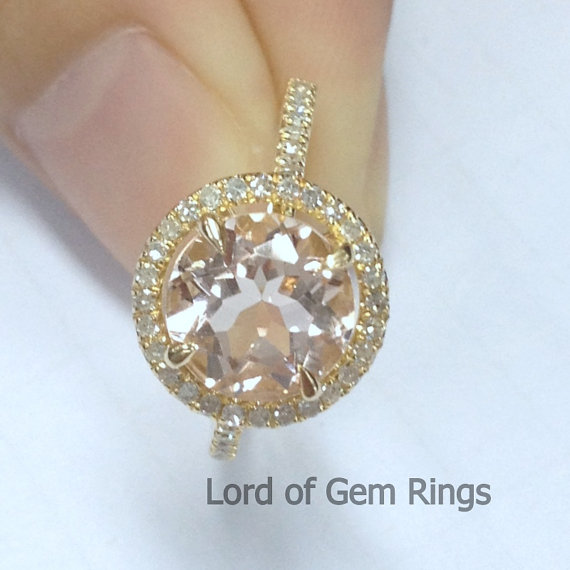 Engagement Ring Vs Wedding Ring Wedding 8mm Round VS Morganite Engagement Ring In 14K Yellow