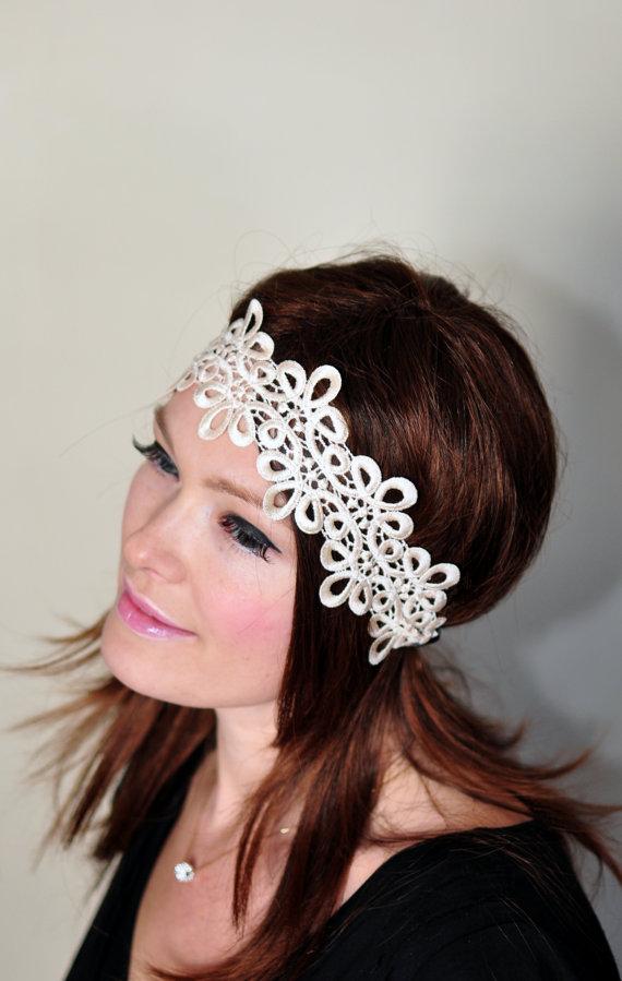 Свадьба - Lace Headband Ivory Cream Gold Hair band Beige Headwrap Stretch Headcovering Vintage Headband Wedding Mothers Day Gift