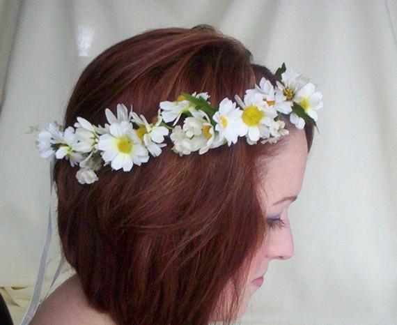 Wedding - Bridal Floral Crown Daisy hair wreath-Stevie-Wedding Headwreath Bridal Head Piece silk flower crown EDC hair accessories, daisy chain ribbon
