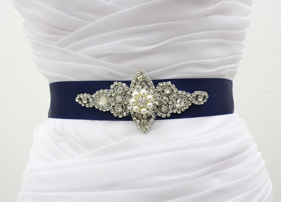 Mariage - CHLOE II - Bridal Scroll Crystal Rhinestone Sash, Wedding Sashes, Rhinestones Bridal Belt, Pearl Belt, Bridal Party Belts