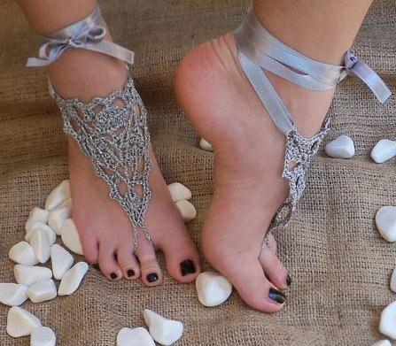 Wedding - DISCOUNT Bridal wedding shoes Gray silver crochet barefoot sandals, sandal weddings foot jewelry, Sexy,  Lolita