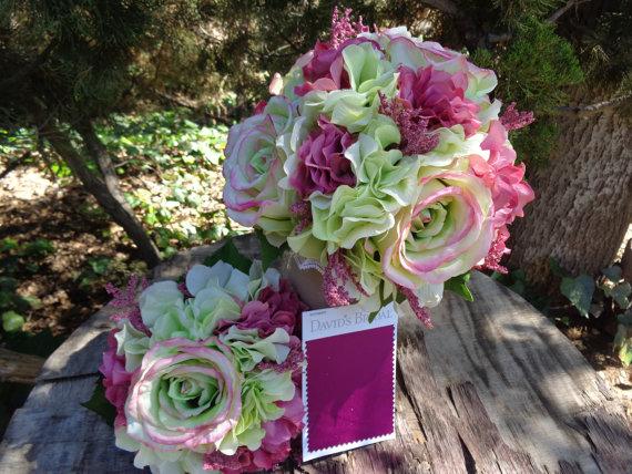 زفاف - 3 Piece wedding package-Bridal bouquet, toss and boutonniere in lime and raspberry
