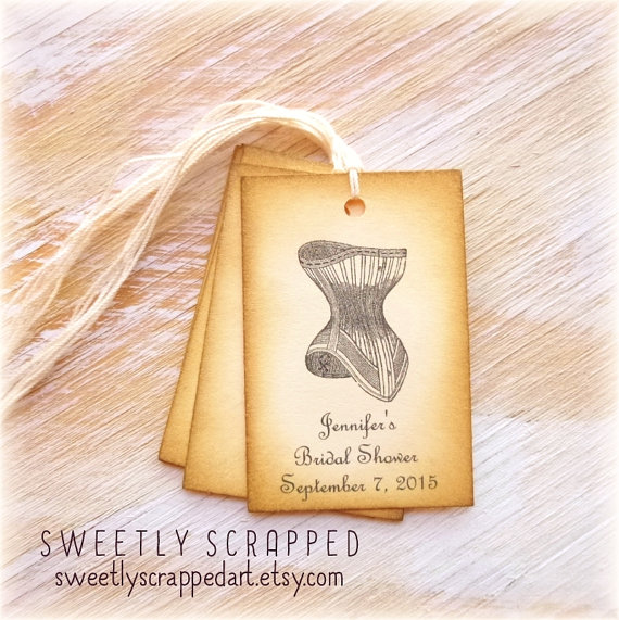 Mariage - BRIDAL SHOWER Corset Tags ... Vintage, French Script, Elegant, Customize, Personalize, Save the Date
