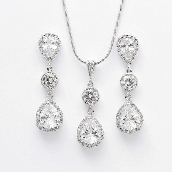 Cubic Zirconia Bridal Set Wedding Jewelry Set Silver Clear Cubic
