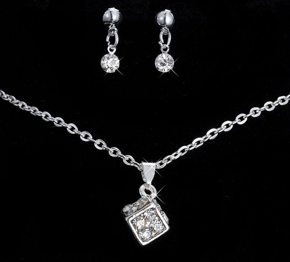 زفاف - crystal magic cube pendant necklace and earrings accessories women Jewelry Sets ~ gift for her, anniversary, christmas gift, weddings bridal