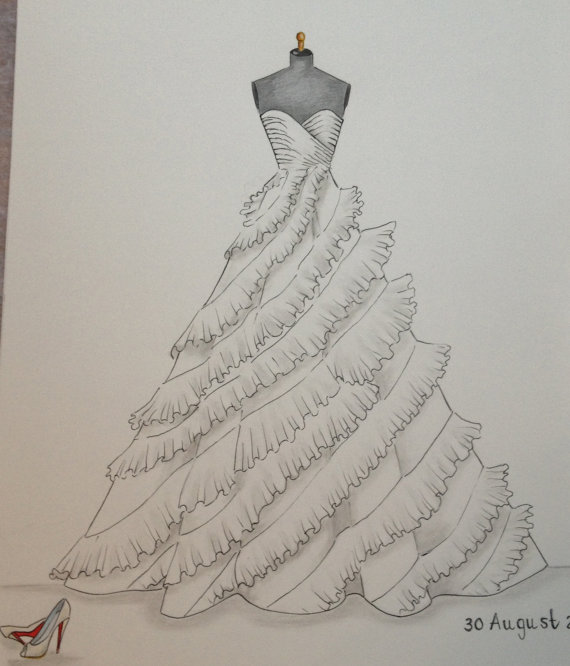 زفاف - Custom wedding dress sketch, custom wedding dress drawing, bride shoes wedding date, wedding keepsake, anniversary gift, bridesmaid gift