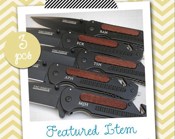 Свадьба - 3 Groomsmen Gifts PERSONALIZED Knife Engraved Knife Engraved Pocket Knife Hunting Knife Rescue Knife Custom Groomsman Gifts Gift for Men