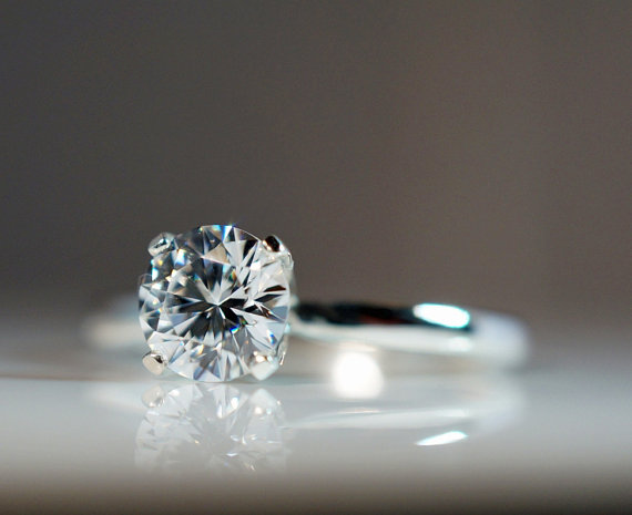 زفاف - Cubic Zirconia Engagement Ring .84 Carat 925 Sterling Silver Hearts & Arrows Round Cut Faux Diamond Simulant CZ Promise Solitaire Sizes 2-13