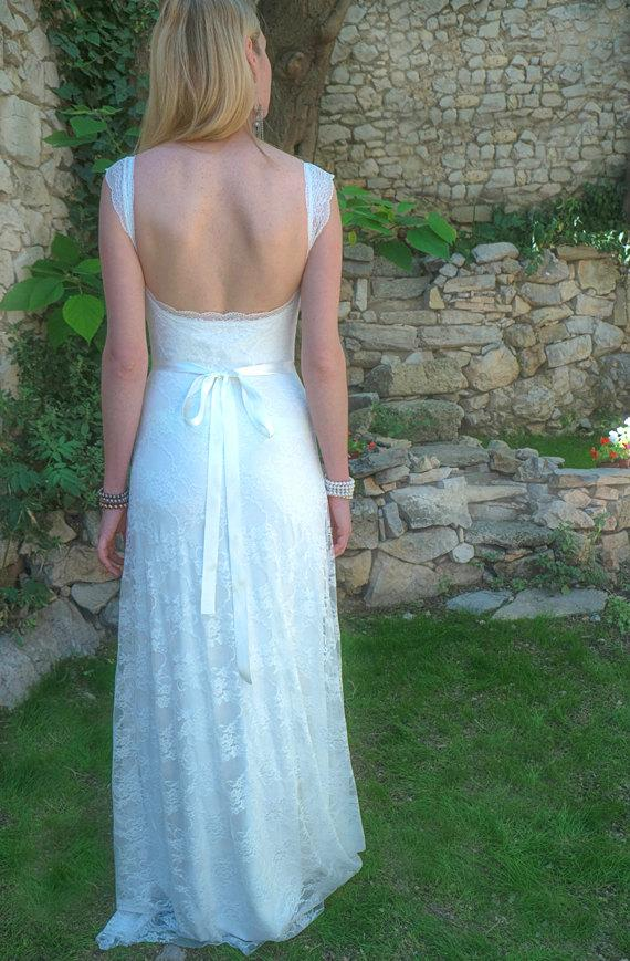 Свадьба - Custom Made Wedding Dress Low Back : DANIA Lace Aline Sheath Dress