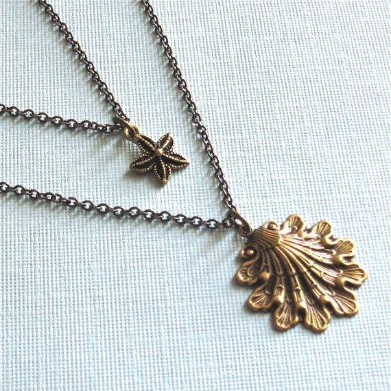 زفاف - Layered Shell Starfish Necklace - Double Strand Necklace, Beach Jewelry, Beach Necklace, Nature Jewelry
