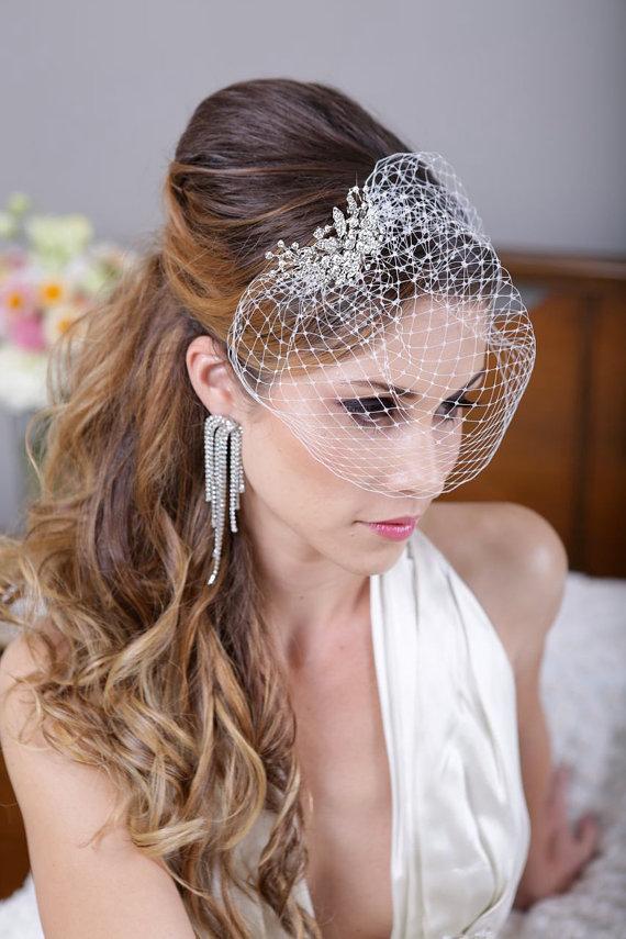 Hochzeit - Silver Crystal Birdcage Veil, Silver Crystal Bird Cage Bridal Veil, Crystal Bird Cage Veil, Silver Rhinestone Wedding Veil - The Felina Veil