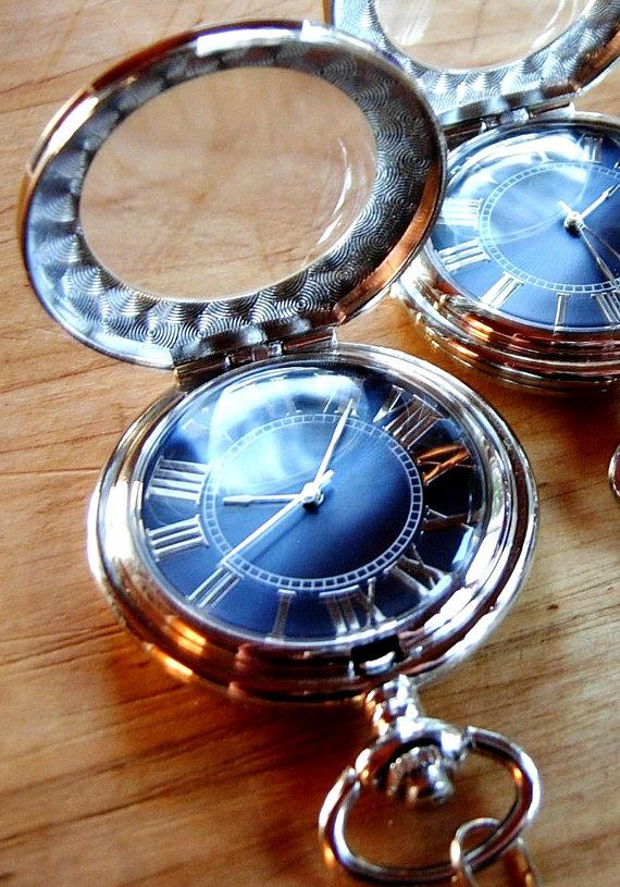 Свадьба - Silver Pocket Watch Blue Dial Groomsmen Gift Wedding Personalized Engravable Ships from Canada