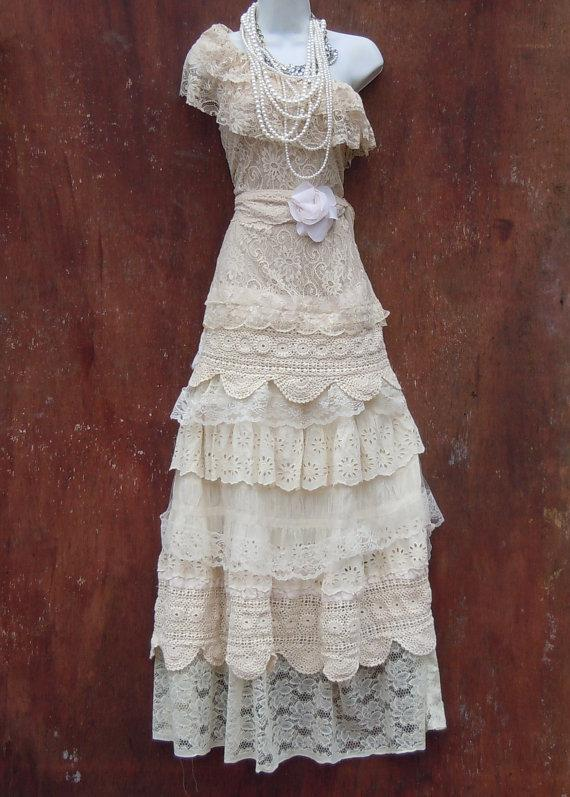 Boho wedding dress nude cream vintage tulle bohemian bride for Wedding dress on etsy