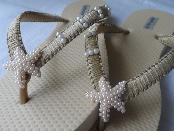 Gold Ivory Wedding Flip Flops Pearls Starfish Macrame Beach Bridal Sandals Bridesmaids Shoes