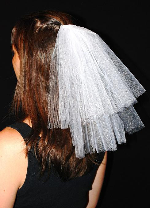 Hochzeit - Wedding or Bachelorette Party 2-Tier Veil Hair Clip