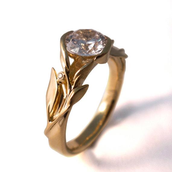 Свадьба - Leaves Engagement Ring No.10 - 18K Yellow Gold and Diamond engagement ring, engagement ring, leaf ring, filigree, vintage,art nouveau