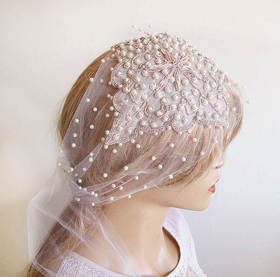 زفاف - Bridal Headpiece, Pearl And Rhinestones, Wedding Hair Style, Bridal Veils, Wedding Veils, Vintage Wedding, Wedding Hair Accessories
