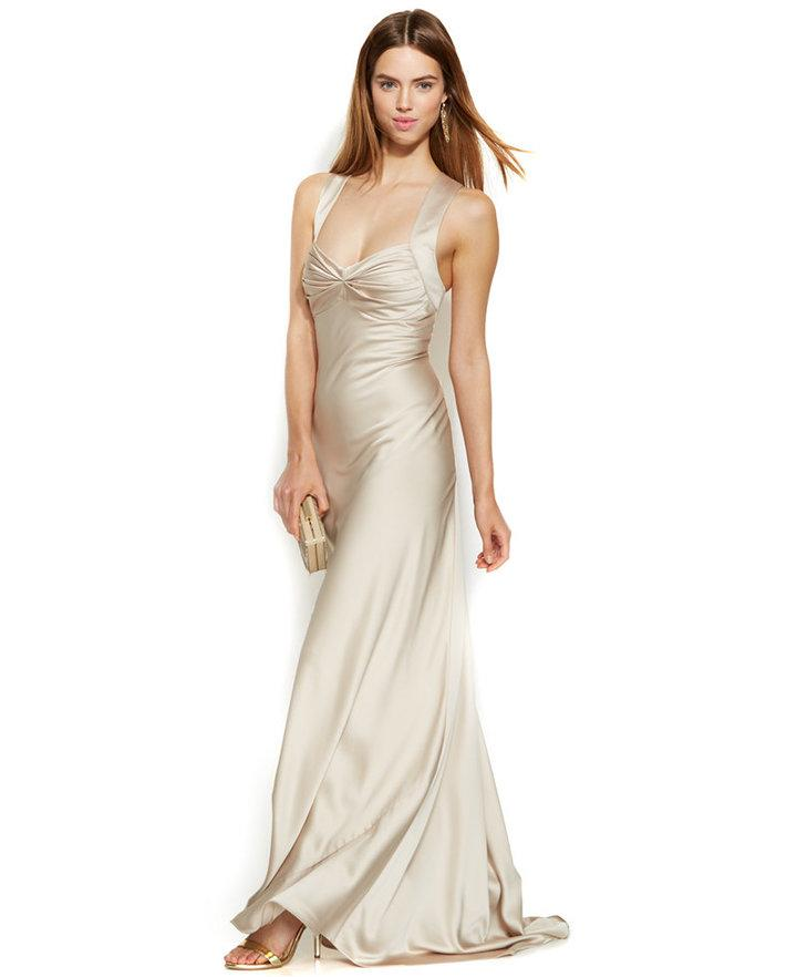 Calvin Klein Sleeveless Satin Sweetheart Gown #2248237 - Weddbook