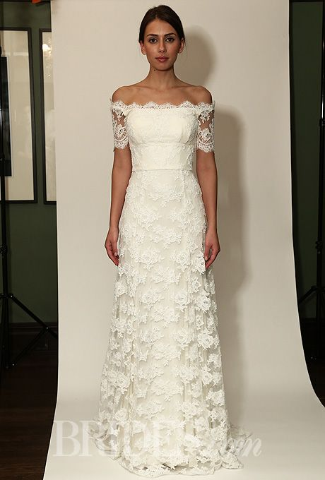 زفاف - Temperley Bridal - Fall 2014 - Sienna Off-the-Shoulder Lace Sheath Wedding Dress With Short Sleeves