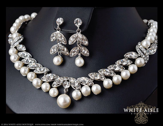 Pearl bridal necklace crystal pearl necklace vintage for Wedding ring necklace