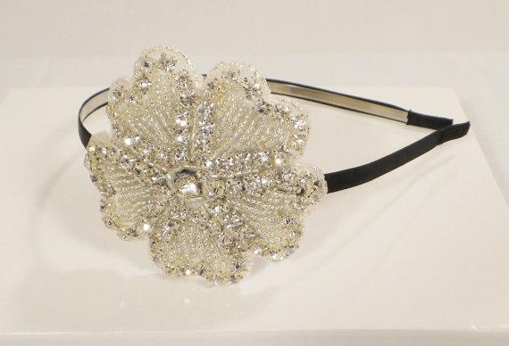Mariage - Flower Rhinestone Wedding Headpiece, Rhinestone Headband, Wedding Headband, Flower Headband