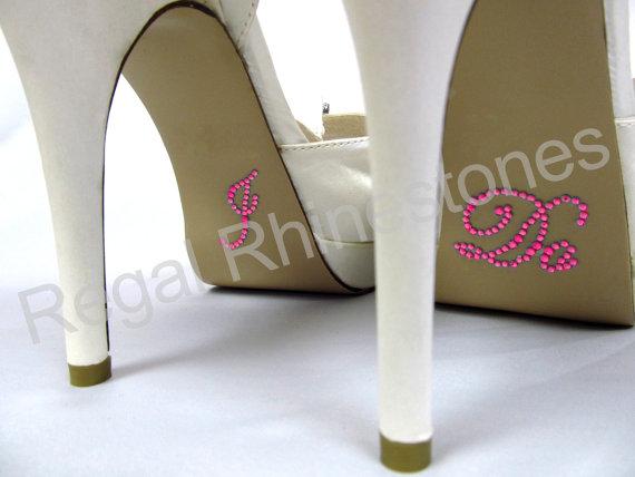 Mariage - I Do Shoe Stickers - HOT PINK SCRIPT Rhinestone I Do Wedding Shoe Appliques - Rhinestone I Do Shoe Decals for your Bridal Shoes