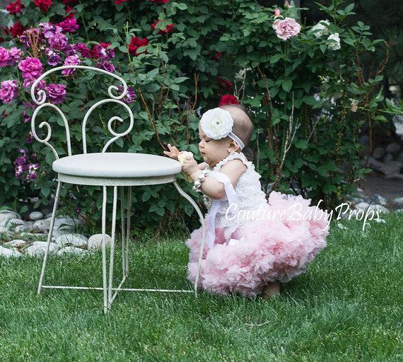 Wedding - SALE Baby Girls PREMIUM Light Pink pettiskirt tutu headband set flower girl dress petticoat twins photo prop Newborn 6-12-18-24 2T 3 4 5 6