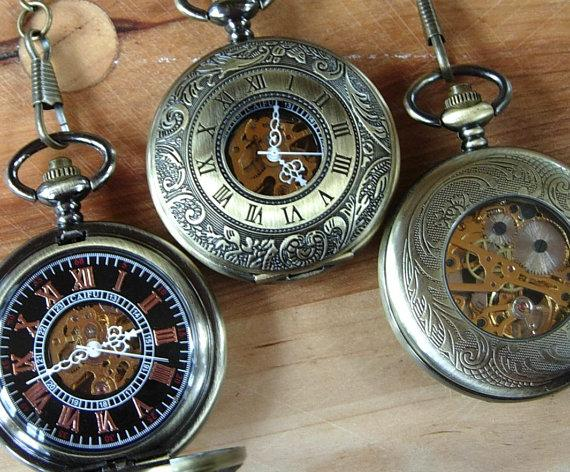 Wedding - Set of 4 Pocket Watches with Chains Gold Personalized Mechanical Groomsmen Gift Wedding Pocket Watch