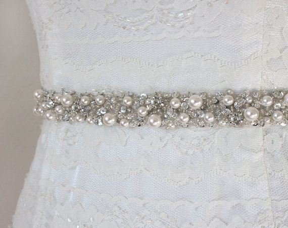 "Hochzeit - Best Seller - MONACO - 3/4"" Swarovski Pearls Encrusted Bridal Sash, Wedding Beaded Belts, Bridal Rhinestone Crystal Belt"