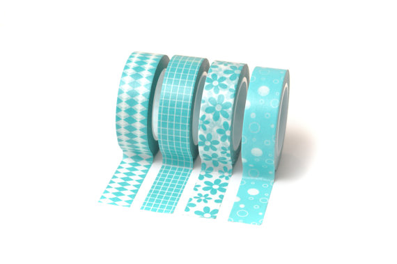 Hochzeit - 4 Rolls Turquoise Washi Tape Set Perfect for Scrapbooking, Rubber Stamping, Gift Wrap, Weddings, Card