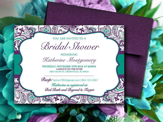 "Mariage - Bridal Shower Invitation Template - Teal Green Eggplant Plum Purple ""Chic Paisley"" - Instant Download Shabby Chic Bridal Luncheon Template"