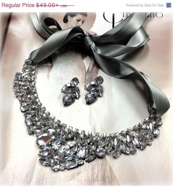 Mariage - Bridesmaid jewelry Set , bridal necklace, vintage inspired statement, Silver ribbon Crystal bib necklace earrings, wedding jewelry