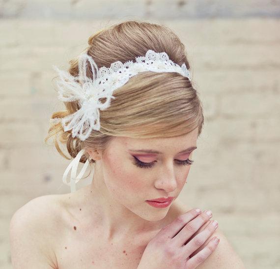 Mariage - Wedding Lace Tie Headband with Feathers Wedding Head piece Lace Headband