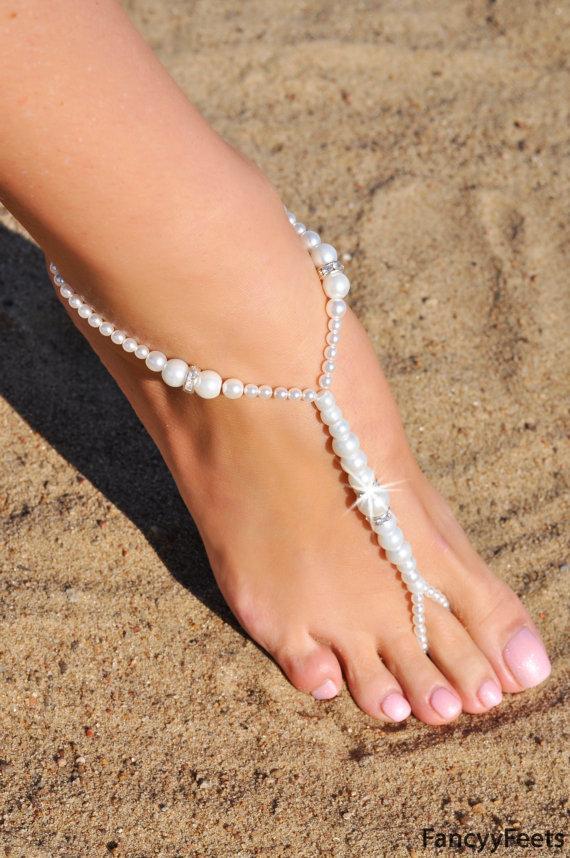 زفاف - Barefoot Sandals, Beaded barefoot sandals, Beach wedding Barefoot Sandal, Pearl Barefoot shoes, Bridal Barefoot Sandals, footless sandal