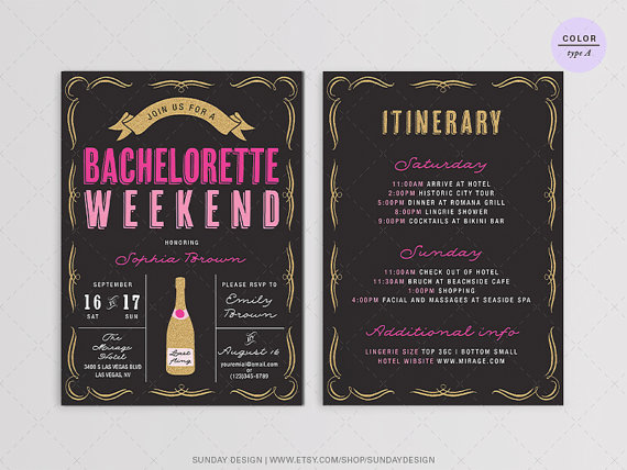 Wedding - Sparkle Bachelorette Weekend Party Invitation - DIY Printable Digital File - Gold Glitter and Pink