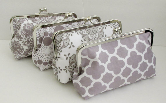 Mariage - CLUTCH PURSE for bridesmaids Wedding Party Gift  Gray/White Prints - Design your own set