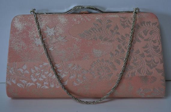 Mariage - Pink and silver bridal handbag or clutch purse, silk brocade, vintage  1980 Japanese wedding purse