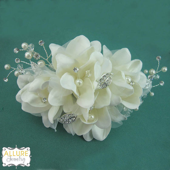 زفاف - Ivory rhinestone wedding hair flower comb, wedding hair accessories, wedding flower comb, hair flower comb, ivory hair flower