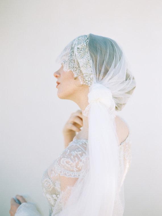 زفاف - Wedding Veil, Lace Bridal Veil, Crystal Veil, Bohemian Veil, Ivory Veil - Style 402