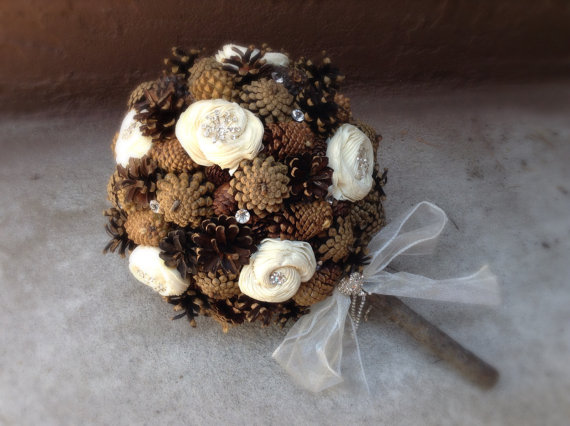 Hochzeit - Rustic wedding bouquet pine cone country forest fall winter bridal flowers alternative bouquets