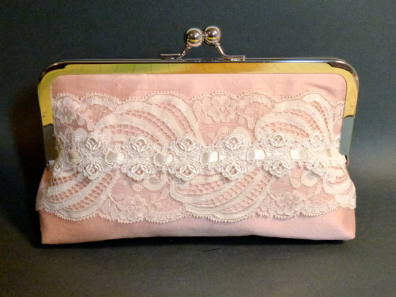 زفاف - Wedding Bridesmaid Bridal Clutch Blush Pink Silk with Ivory Victorian Lace Romantic Wedding READY TO SHIP Sale