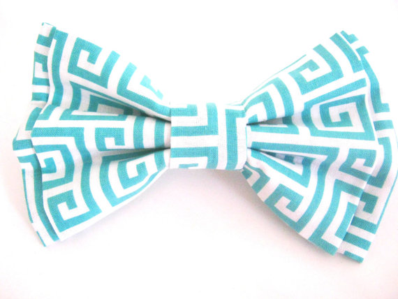 Mariage - Dog Bow Tie Small Medium Large Greek Key Design