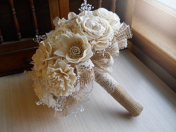 زفاف - Rustic Shabby Chic Bouquet, Sola Flowers, Burlap, Lace, Rustic Shabby Chic Weddings. Made to Order.