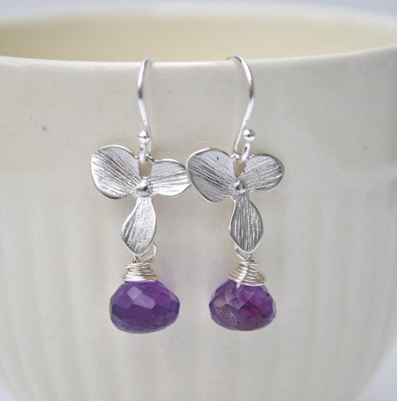 زفاف - Purple Earrings Orchid Flower Amethyst Gemstone Brithstone Jewelry - Bridesmaid Gifts Bridal Jewelry set of 1 2 3 4 5 6 7 8 9 10