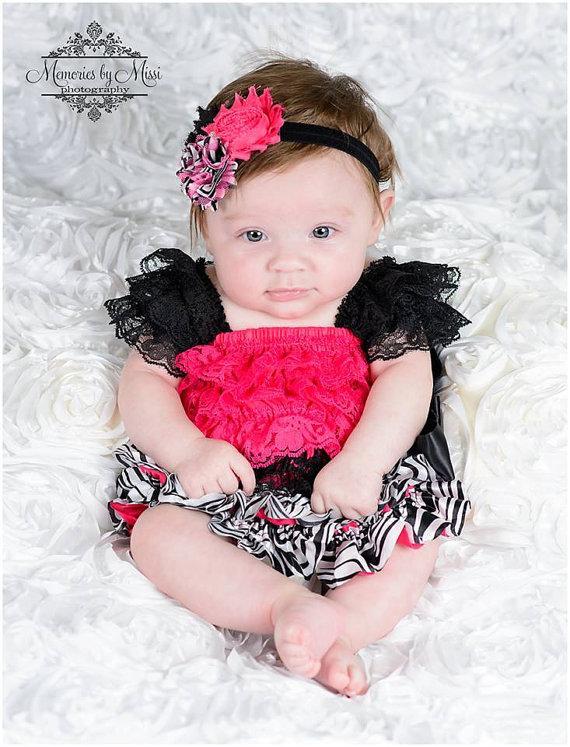 Clearance Hot Pink Zebra Petti Lace Dress Ruffle Dress Baby Dress