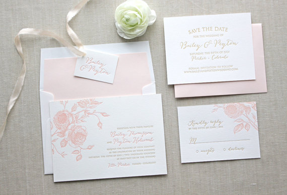 Mariage - Juliet Letterpress Wedding Invitation - Letterpress Wedding Invitation - Flower Letterpress Wedding Invitation