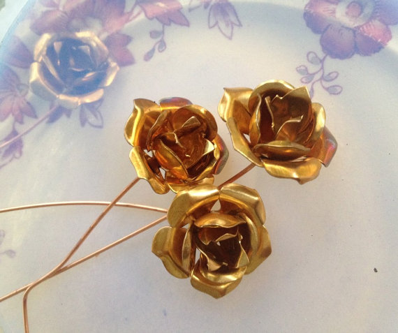 Hochzeit - French Wired Tea Roses (3 pc)