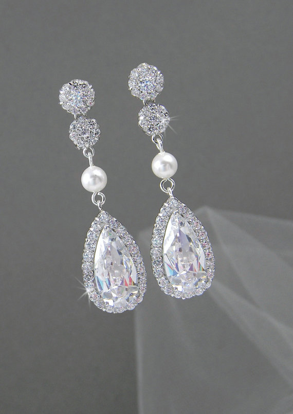 Bridal Earrings Rose Gold Swarovski Crystal Drop Pearl Wedding Jewellery Chelsea