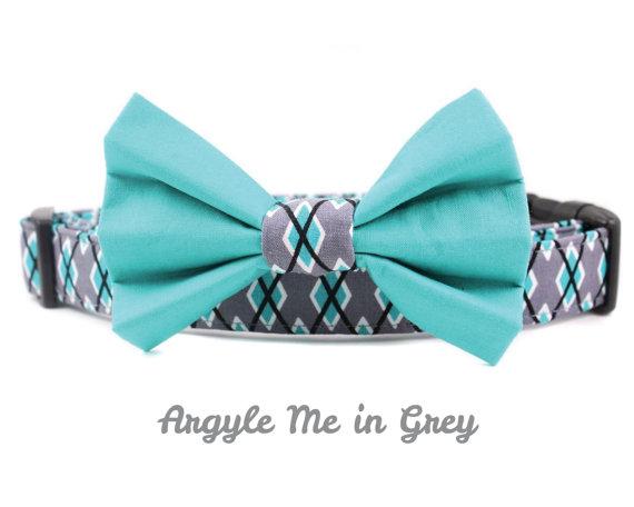 Свадьба - Grey Argyle Dog Bow Tie Collar Set - Argyle Me in Grey