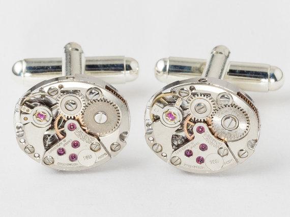 Mariage - Steampunk cufflinks vintage Hamilton watch movements wedding anniversary grooms Gift silver cuff links men jewelry by Steampunk Nation 1857
